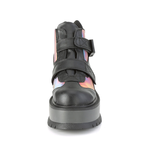 Demonia - SLACKER-32 - Black Vegan Leather-Rainbow Reflective - Women's Ankle Boots