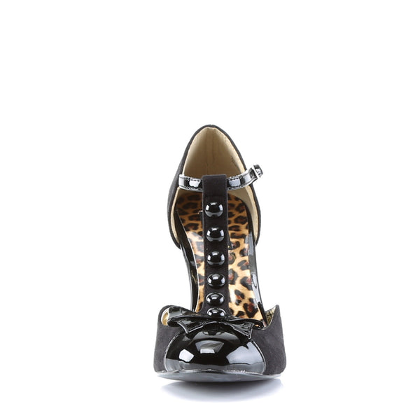 Pin Up Couture - SMITTEN-10 - Black M. Suede-Black Patent - Single Soles