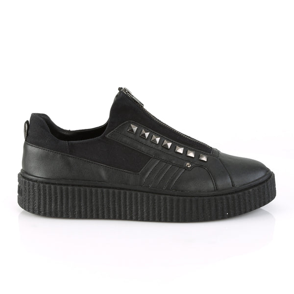 Demonia - SNEEKER-125 - Black Canvas-Black Pu - Unisex Sneakers
