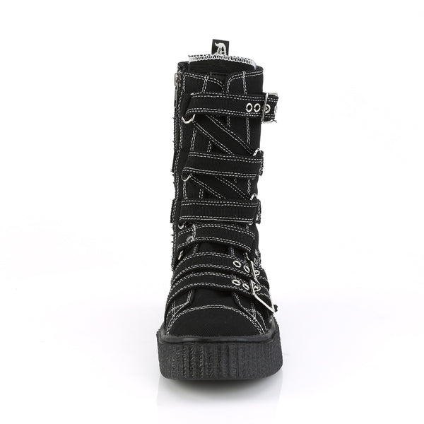 Demonia - SNEEKER-318 - Black Canvas - Unisex Sneakers