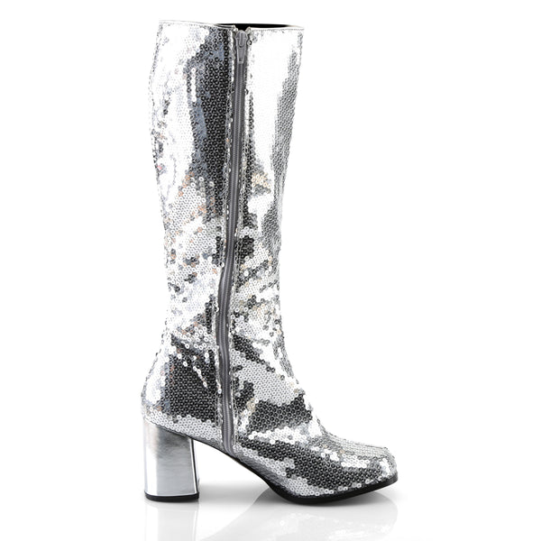 Bordello - SPECTACUL-300SQ - Silver Sequins - Boots