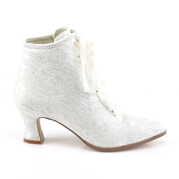 Fabulicious - VICTORIAN-30 - Ivory Satin-Lace - Boots