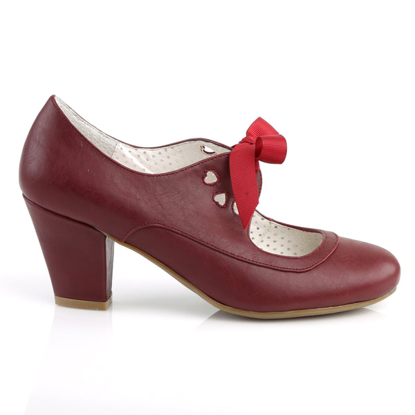 Pin Up Couture - WIGGLE-32 - Burgundy Faux Leather - Single Soles