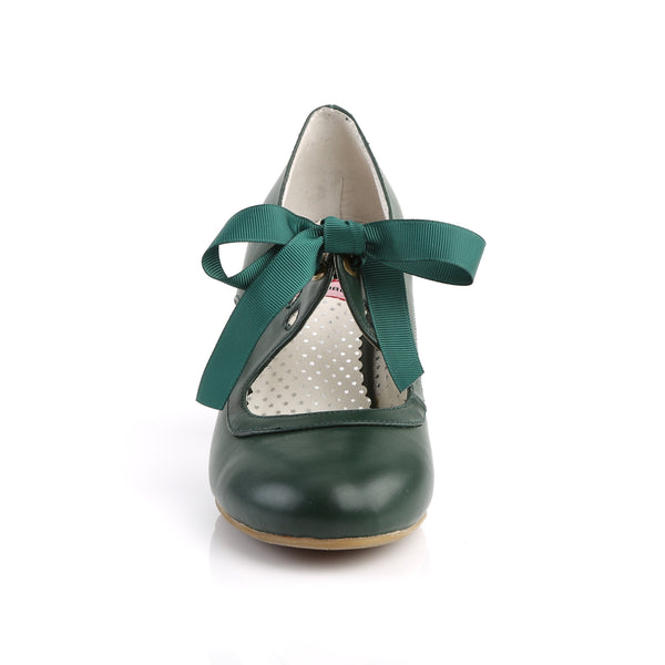 Pin Up Couture - WIGGLE-32 - Dark Green Faux Leather - Single Soles