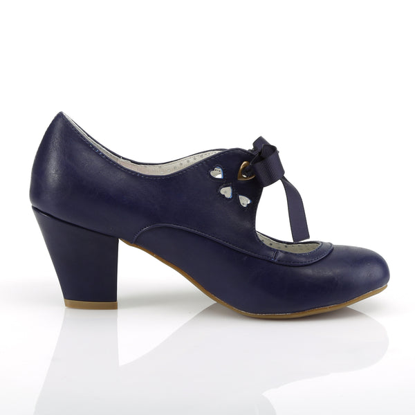 Pin Up Couture - WIGGLE-32 - Navy Blue Faux Leather - Single Soles