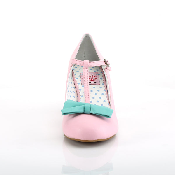 Pin Up Couture - WIGGLE-50 - Pink-Teal Faux Leather - Single Soles