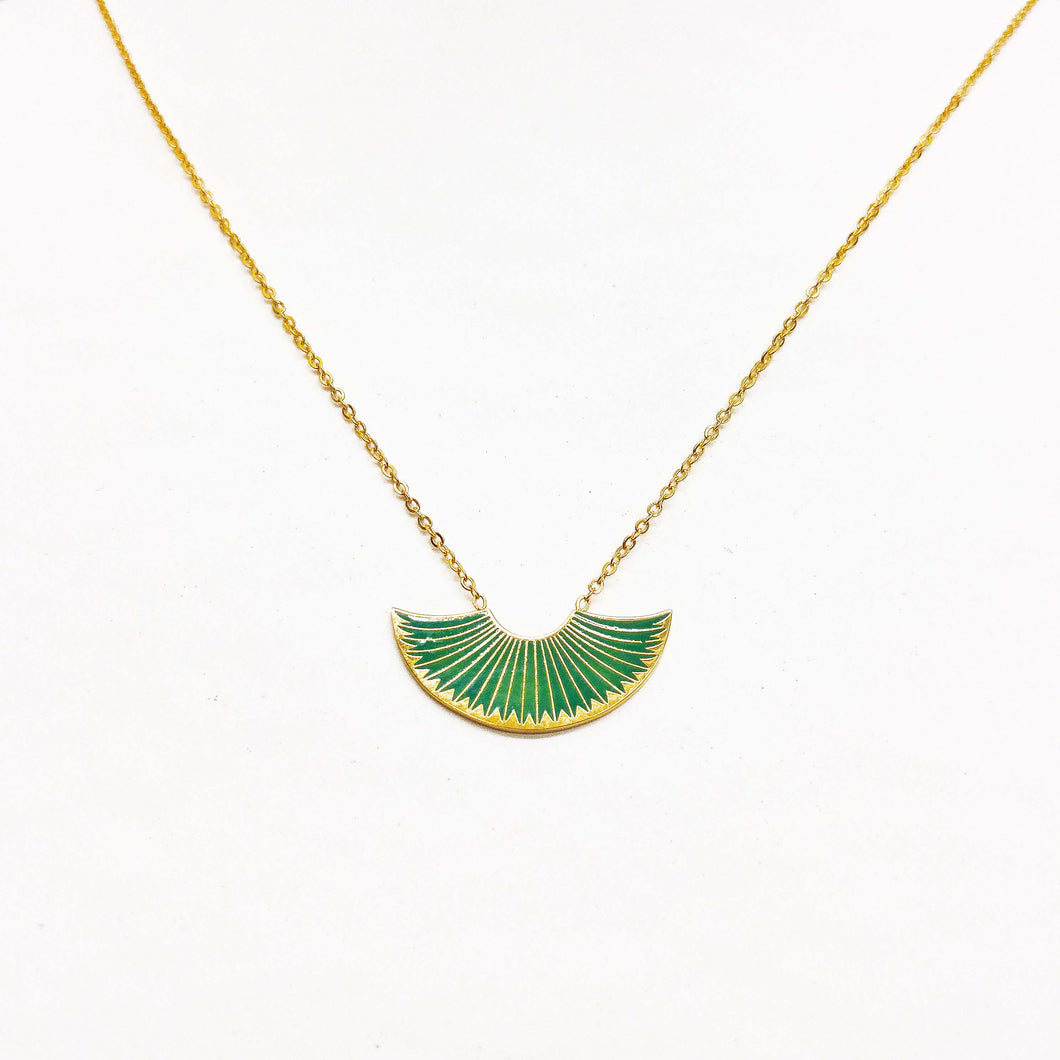 collier,dore,vert,acier-inoxydable,eventail,or,montreal,collier-court,art-deco,idee-cadeau,montreal,boutique,casa-luca,achat-local