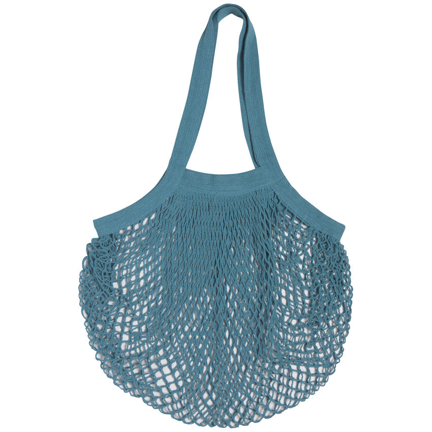 Sac réutilisable en filet 100 % coton - Bleu