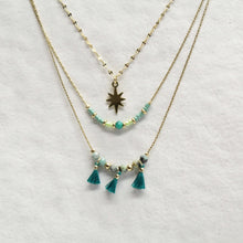 collier,dore,acier-inoxydable,etoile,ornements-turquoise,montreal,collier-court,art-deco,idee-cadeau,montreal,boutique,casa-luca,achat-local,ahuntsic