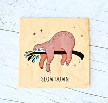 Serviettes de table en papier - motif paresseux - slow down
