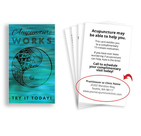 Call-to-action Cards for Acupuncturists - Blue Yin Yang