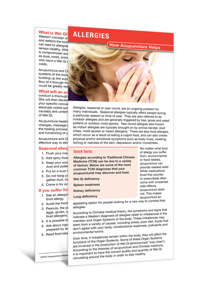Allergies - Acupuncture Patient Education Cards