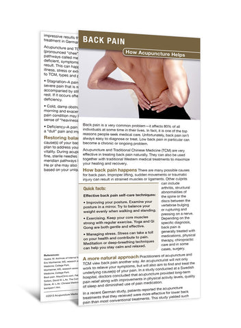 Back Pain - Acupuncture Patient Education Cards