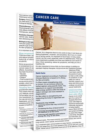 Cancer - Acupuncture Patient Education Cards