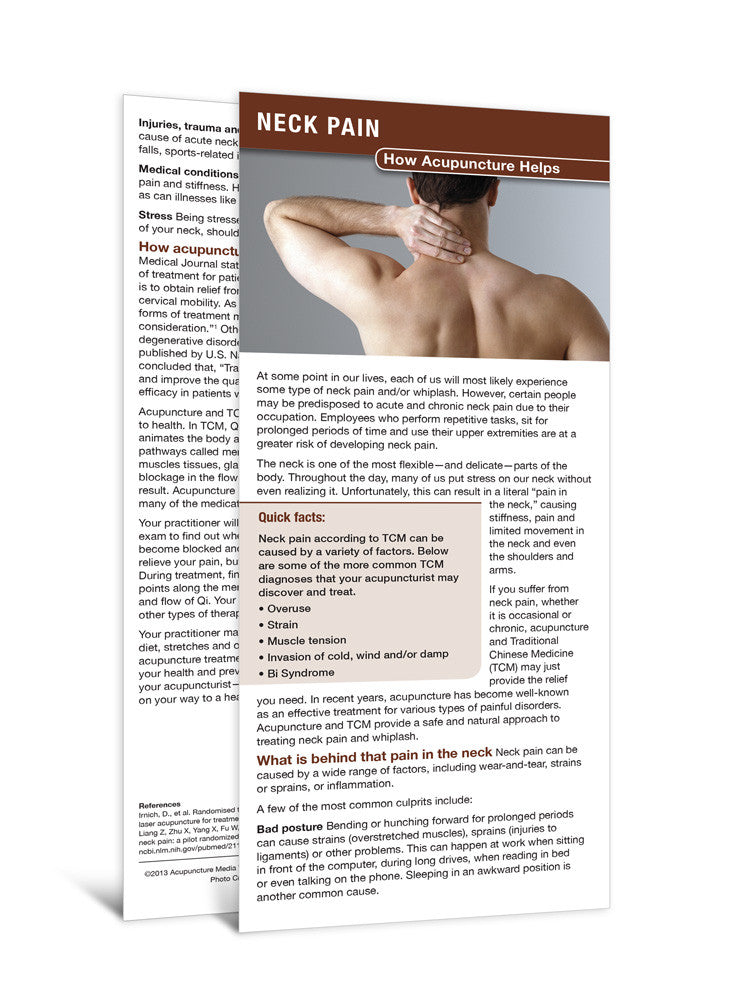Neck Pain - Acupuncture Patient Education Cards