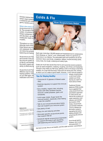 Colds & Flu - Acupuncture Patient Education Cards