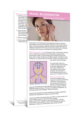 Facial Rejuvenation - Acupuncture Patient Education Cards