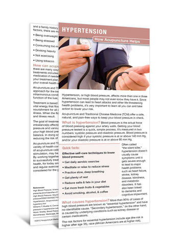 Hypertension - Acupuncture Patient Education Cards