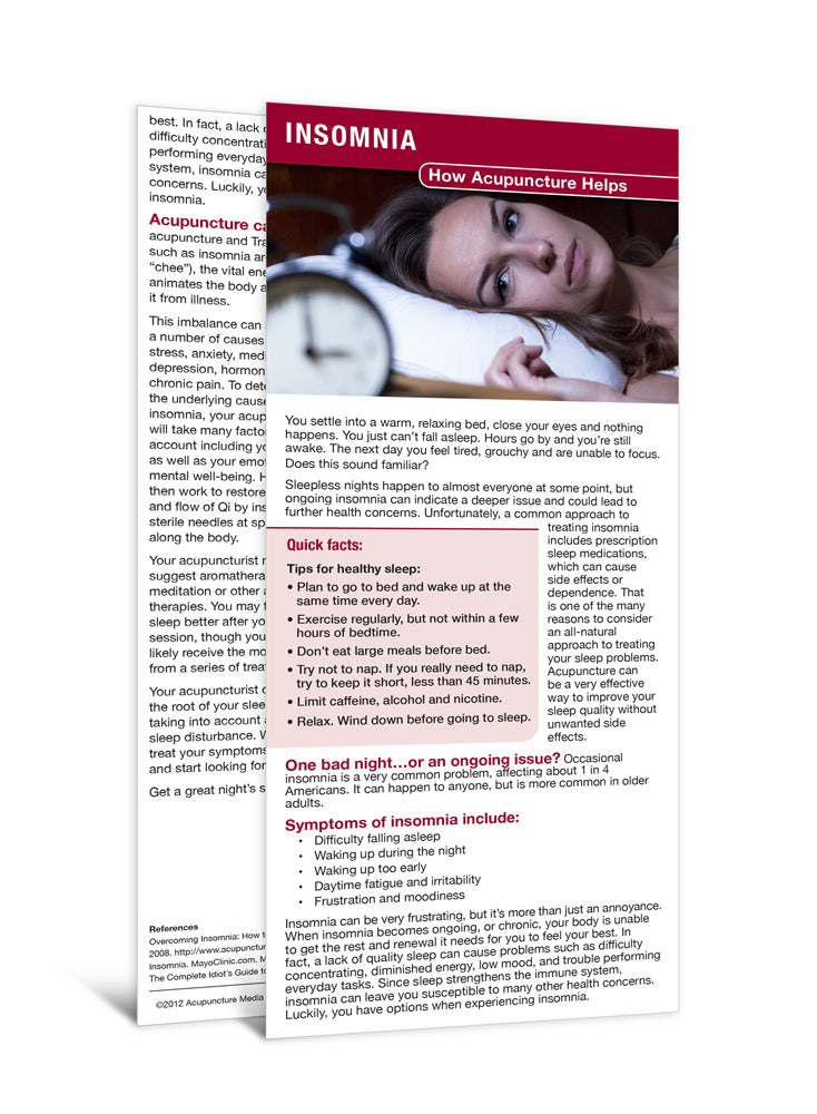 Insomnia - Acupuncture Patient Education Cards