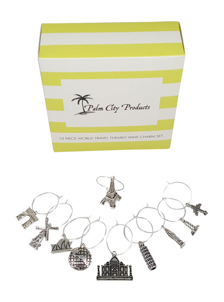 Travel Themed Wine Charm Set with 10 Charms including Eiffel Tower, Big Ben, Taj Mahal, and many more