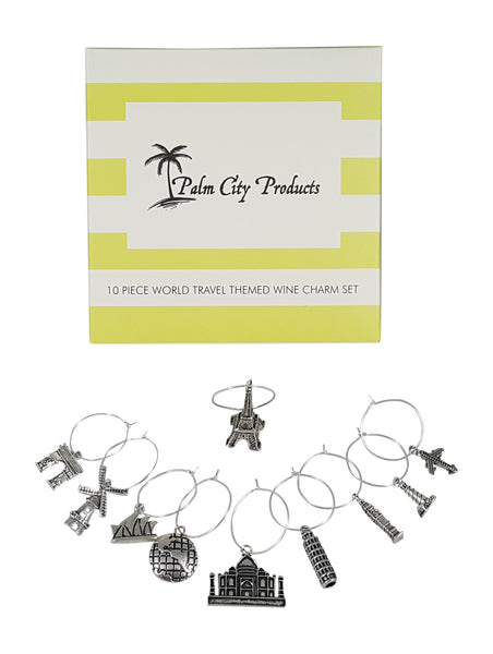 Travel Themed Wine Charm Set by Palm City Products - box with charms on Display