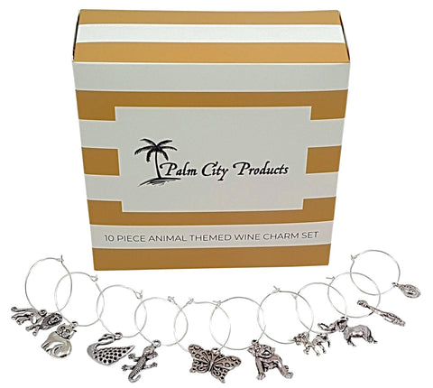 10 Piece Animal Themed Wine Charm Set