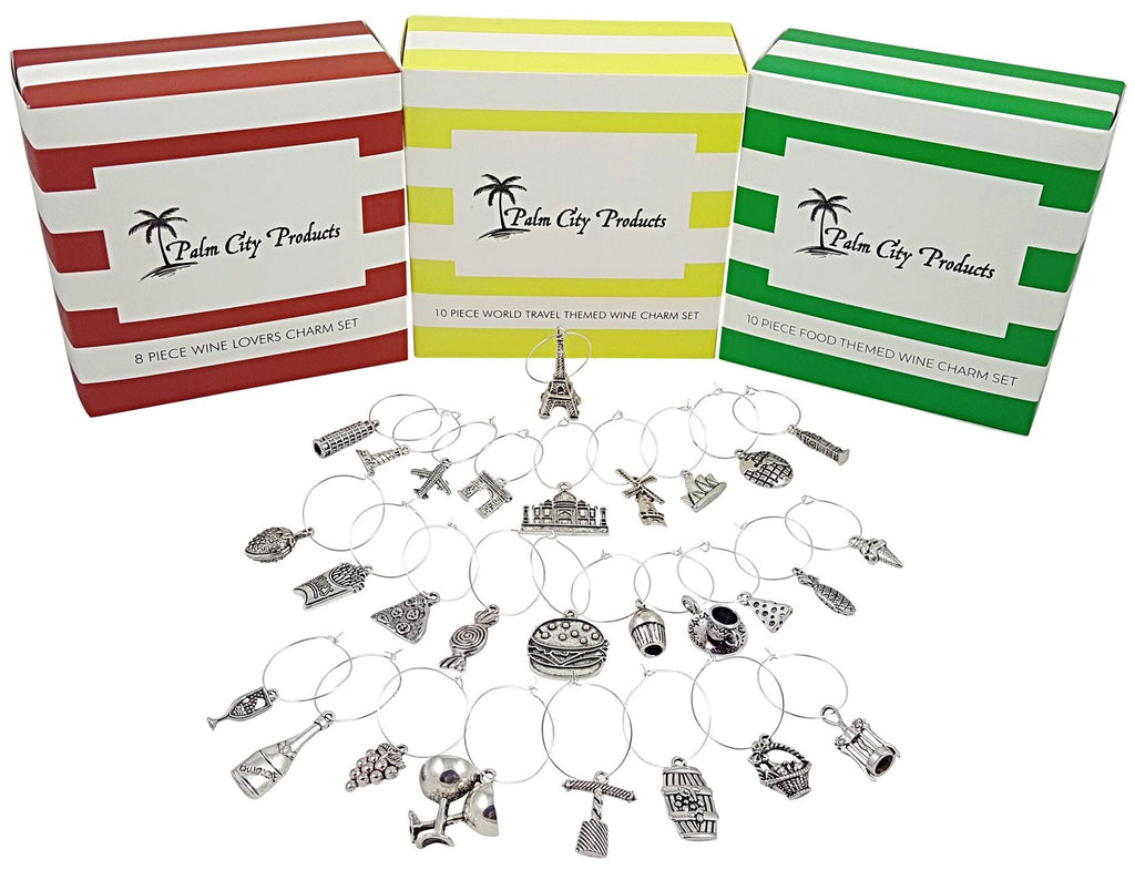 Around the World Wine Charm Set with Food, Wine Lovers, and World Travel Themed Sets - 28 Piece Bundled Set