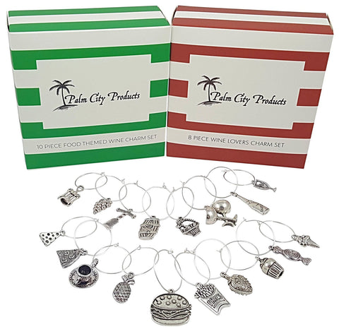 Food and Wine Lovers Wine Charm Bundled Gift Set - 18 Pieces of Wine Charms
