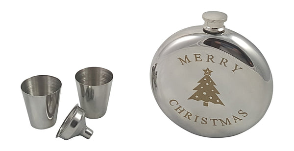 Merry Christmas Flask Gift Set with Two Shot Glasses and Funnel in a Black Gift Box (limited edition)