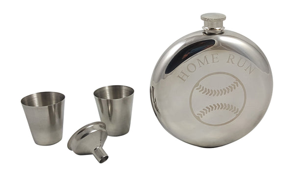 Baseball Flask Gift Set
