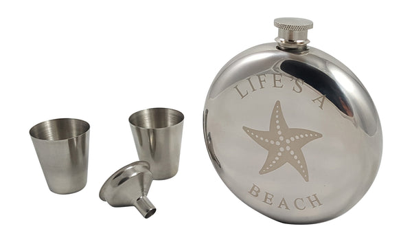 Beach Themed Starfish Flask Gift Set - 10 oz Beach Themed Round Flask with Two Shot Glasses and a Funnel in a Black Gift Box