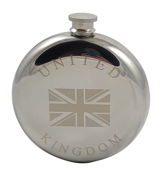 United Kingdom Flask Gift Set - 10 oz Flask Engraved with a Union Jack with Two Shot Glasses and a Funnel