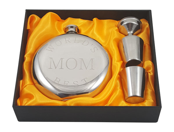 World's Best Mom Flask Gift Set
