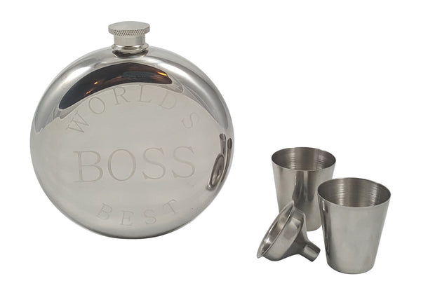 World's Best Boss Flask Gift Set
