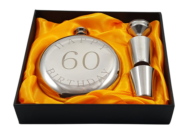 Happy 60th Birthday Flask Gift Set