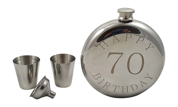 Happy 70th Birthday Flask Gift Set