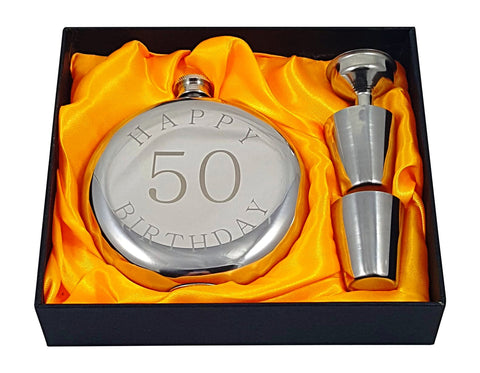 Happy 50th Birthday Flask Gift Set
