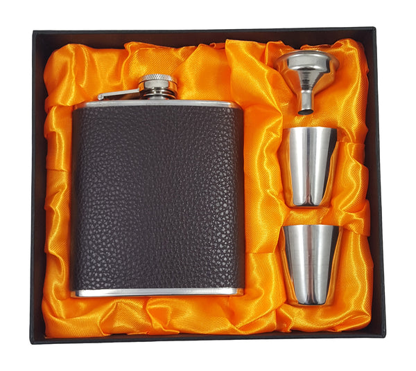 Faux Leather Flask Gift Set