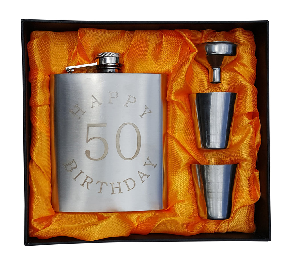 "50th Birthday Flask Gift Set - 7 oz Flask Engraved with ""Happy 50 Birthday"""