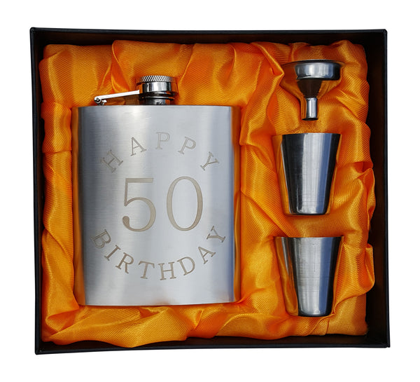 Happy Birthday 50 Flask - 7 oz Flask for 50th B-Day