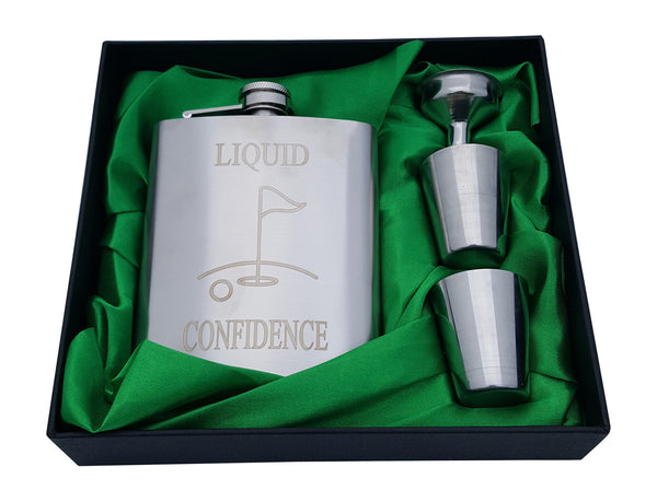Golf Flask Gift Set - 7 oz Flask Engraved with Liquid Confidence