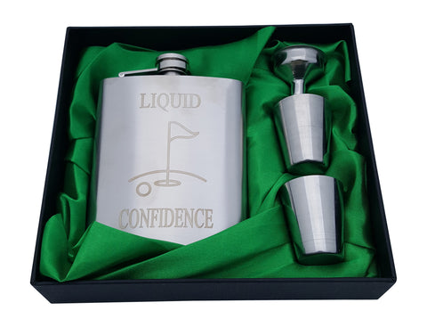 "Golf Flask Gift Set - 7 oz Flask Engraved with ""Liquid Confidence"""
