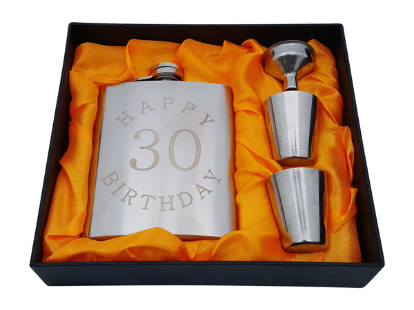 "30th Birthday Flask Gift Set - 7 oz Flask Engraved with ""Happy 30 Birthday"""