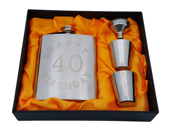 "40th Birthday Flask Gift Set - 7 oz Flask Engraved with ""Happy 40 Birthday"""