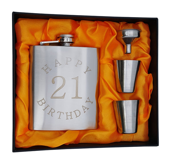 Happy Birthday 21 Flask - 7 oz Flask for 21st B-Day