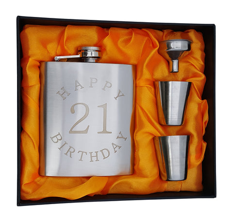 "21st Birthday Flask Gift Set - 7 oz Flask Engraved with ""Happy 21 Birthday"""