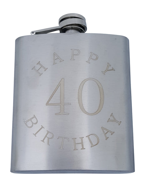 Happy Birthday 40 Flask - 7 oz Flask for 40th B-Day