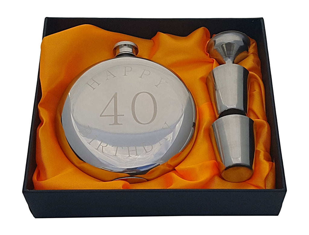 Happy 40th Birthday Flask Gift Set Palm City Products
