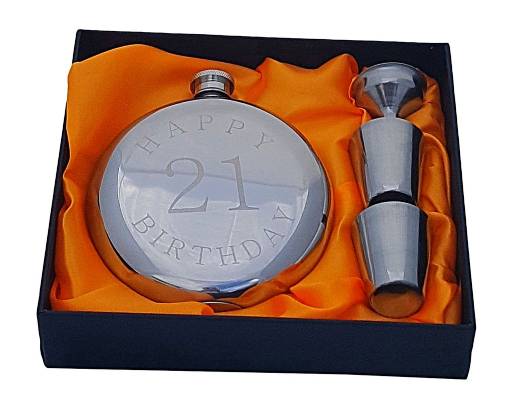 Happy 21st Birthday Flask Gift Set Palm City Products