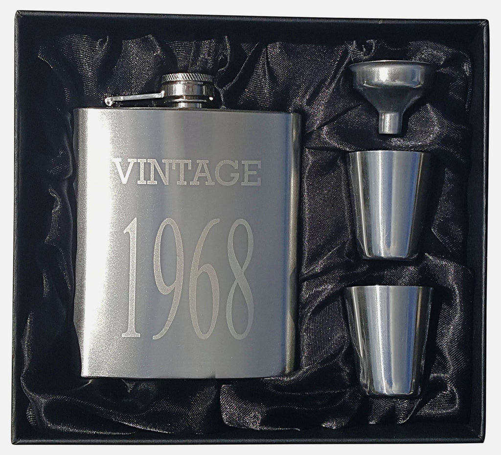 Vintage 1968 Flask Gift Set - Perfect 50th Birthday Present